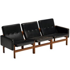 Jørgen Bækmark for FDB Møbler Modular Sofa in Oak and Leather