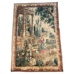 """18th Century French Aubusson Tapestry """"La Bergere"""" After J. B. Oudry"""