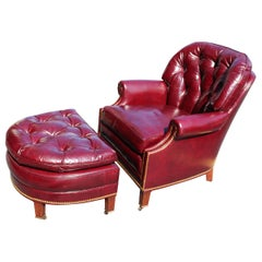 Genuine Leather Burgundy Hancock & Moore Chesterfield Club Chair and Ottoman