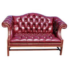 Leather Hancock & Moore Burgundy Chesterfield Style Camel back Settee Sofa