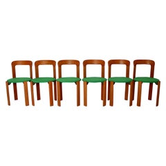 Bruno Rey Dining Chairs Vintage Brown Beech Green 1970s Up to Twenty Four
