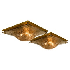 1 of the 2 Massive Textured Glass Flush Mount or Wall Light by Kalmar, 1960