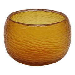 21st Century by Micheluzzi Glass Puffo Amber Vase Handmade Murano Glass
