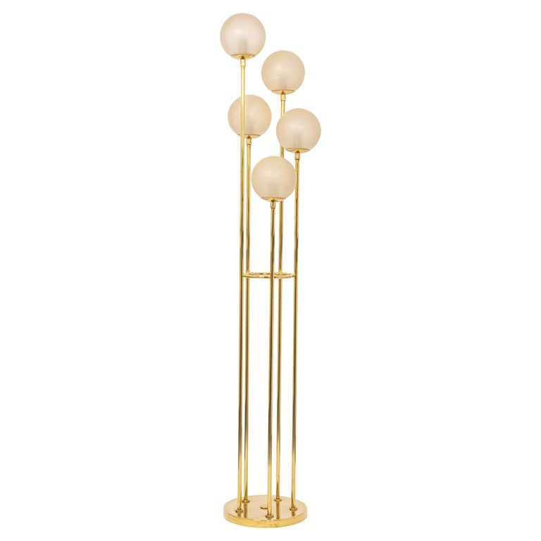 Atomic Brass Floor Lamp by Kaiser, Germany, 1960s For Sale
