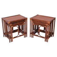Pair of Mid-Century Faux Bamboo British Colonial Style Nests of Tables