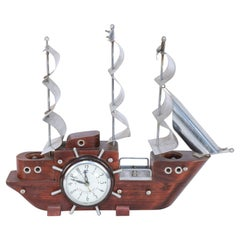 Sessions United Mid-Century Clipper Ship Electrified Table Clock