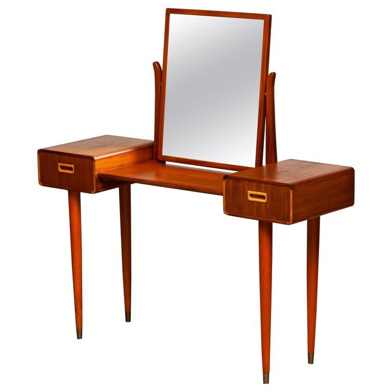 1950's Slim Mahogany Dressing Table / Vanity by Tibro, Sweden