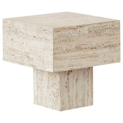 1970s Vintage Italian Travertine Side Table in Manner of Up&Up