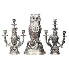 3-Piece English Victorian Owl Clock Garniture Set