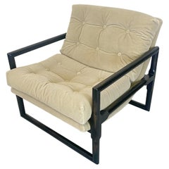 Vintage Milo Baughman Style Scoop Chair in Mohair