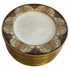 Wonderful 12 Spode English Fine Porcelain Dinner Service Plates Cobalt Blue Gold