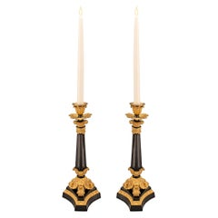 Pair of French 19th Century Charles X Period Bronze and Ormolu Candlesticks