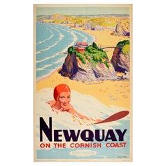 Original Vintage Poster Newquay Cornwall Coast British Railways Surfing Beach