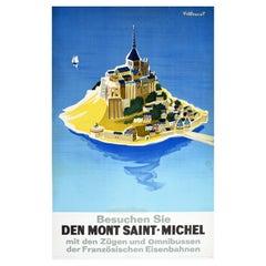 Original Vintage Poster Mont Saint Michel Island Sailing Train Coach Travel Art