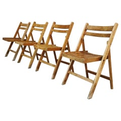 Mid Century Folding Dining Chairs Solid Wood Set of 4, 1960s