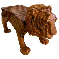 Vintage Wood Carved Tiger Footstool