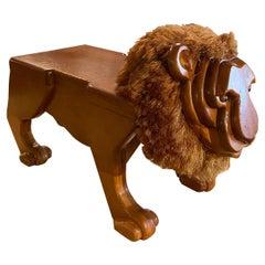 Vintage Wood Carved Lion Footstool