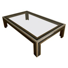 1970s Brass, Chrome and Bronze Vintage Coffee Table Attributed to Romeo Rega
