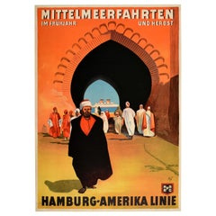 Original Vintage Poster Hamburg Amerika Line Mediterranean Sea Cruise Travel Art