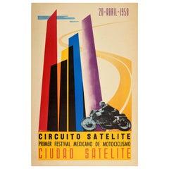 Original Vintage Poster Circuito Satelite Towers Mexico Motorcycle Race Festival