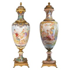 Pair of Monumental Sèvres and Gilt Bronze-Mounted Vase by Fuchs