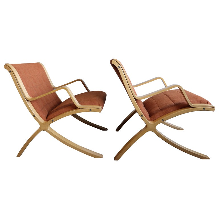 AX Lounge Chairs by Peter Hvidt & Orla Mølgaard Nielsen for Fritz Hansen For Sale