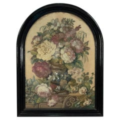 English Victorian Framed Floral Beaded and Wool Work Embroidery