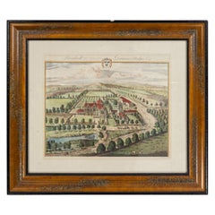 Color Print of an English Estate in a Wooden Frame