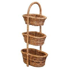 19th Century French Handwoven Tree-Tier Wicker Basket from Normandy