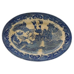 Vintage Oval Decorative Small Platter with Blue and White Willow Pattern