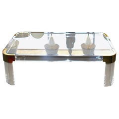 1970s Brass & Lucite Coffee Table Signed by Charles Hollis Jones