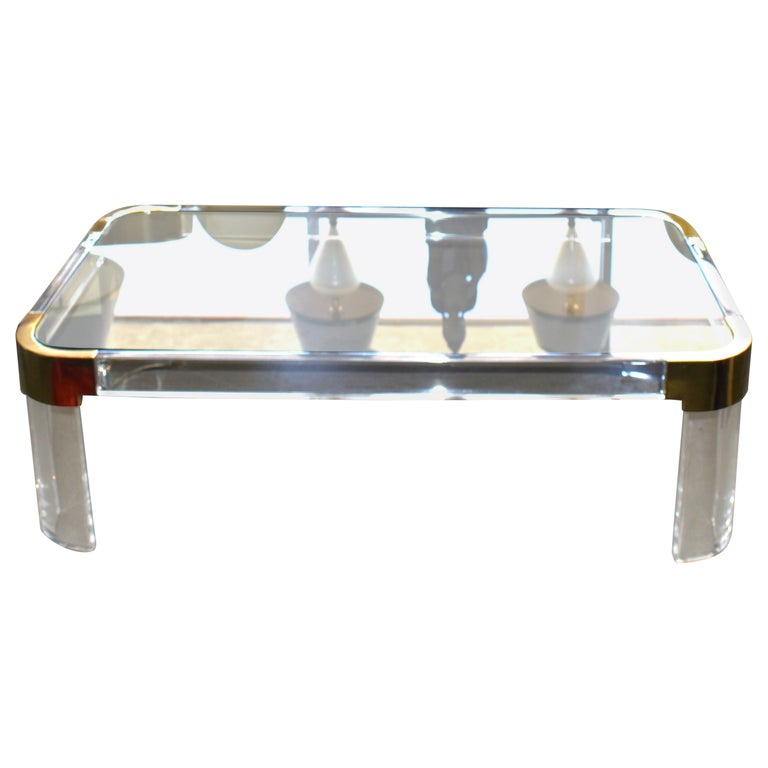 1970s Brass & Lucite Coffee Table Signed by Charles Hollis Jones For Sale