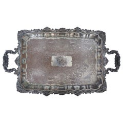 English Victorian Silver Plate Monogrammed and Engraved Serving Tray