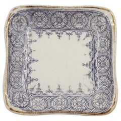 Set of 4 English Victorian Small Blue and White Square Porcelain Butter Pat