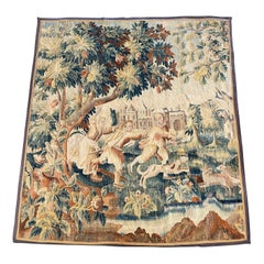 Mid-18th Century French Aubusson Pastoral Wall Tapestry with People and Castle