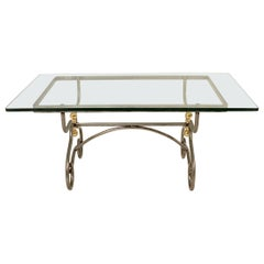 French Steel and Brass Cocktail Table