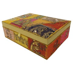 Colorful Embroidered Textile Indian Decorative Box