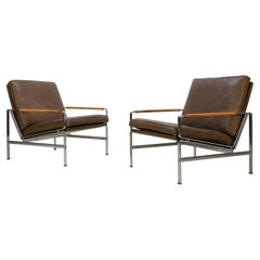 Mid-Century Lounge Chairs FK 6720 by Fabricius & Kastholm Kill Brown Leather