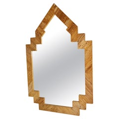 Rare Extra Large Rattan Bamboo Mirror by Vivai del Sud Roma, 1970s