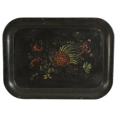 English Victorian Floral Black Tole Serving Tray