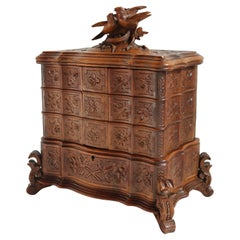 Rare Antique 4 Tier Black Forest Jewelry Box Fruitwood 19th Century Hand Carved