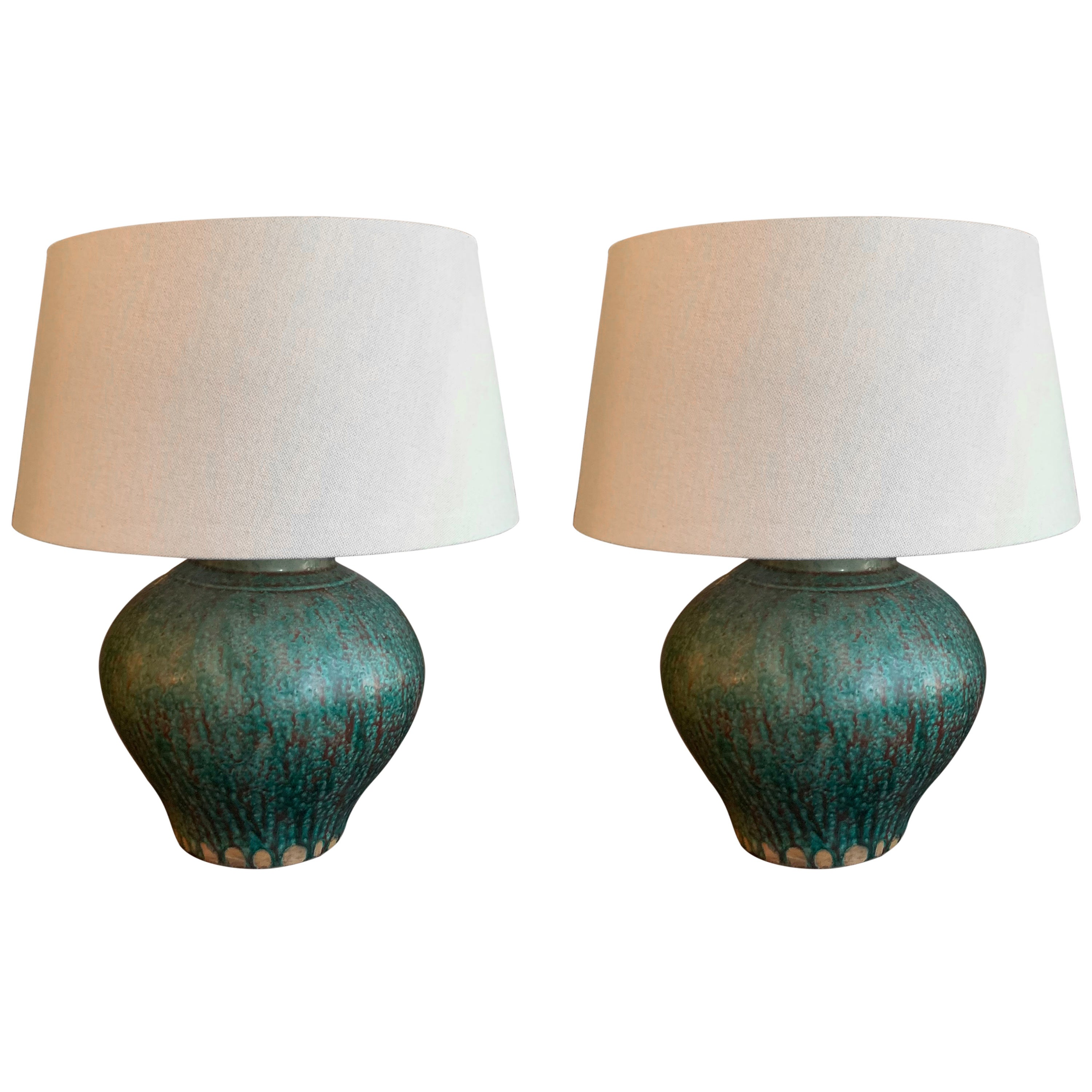 Textured Turquoise Pair Ginger Jar Shaped Lamps, China, Contemporary