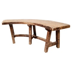 Solid Oak Curved Bench from France, 1930s