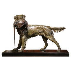 19th Century French Spelter Hunting Dog and Bird Signed Moigniez on Marble Base