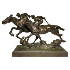 "Paul Herzel Patinated Bronze Sculpture of ""Hot-Blooded""Horses"