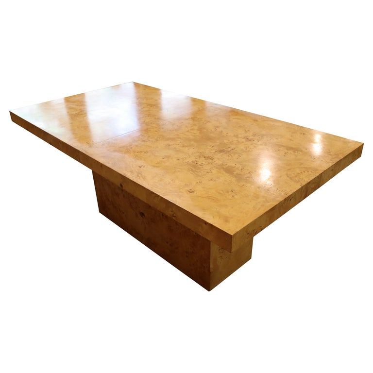 Mid-Century Modern Milo Baughman Burl Wood Expandable Dining Table 2 Leaves 80s For Sale