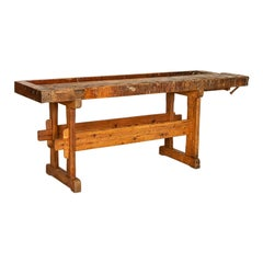 Large Antique Carpenters Workbench Rustic Console Table from Denmark