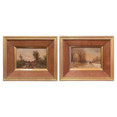 Pair of Early 20th Century Signed Pastoral Paintings on Board in Gilt Frames