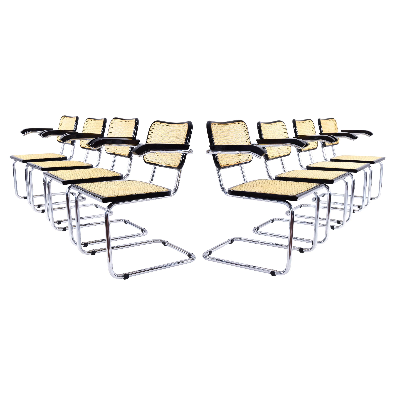 Set of Eight Mid-Century Modern Marcel Breuer B64 Cesca Chairs, Italy, 1970s