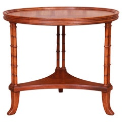 Baker Furniture Hollywood Regency Walnut Faux Bamboo Tea Table
